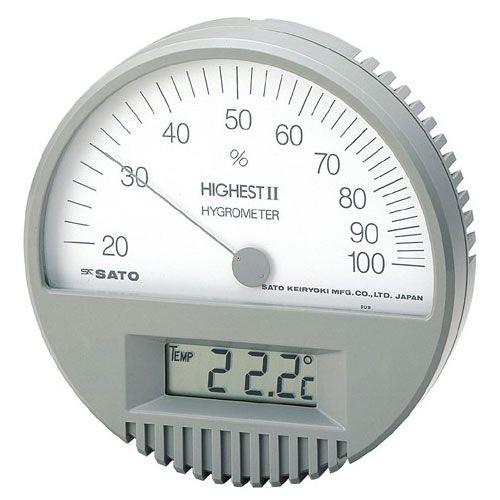 SATO 佐藤計量器 ハイエスト II 型湿度計(温度計付) 7542-00