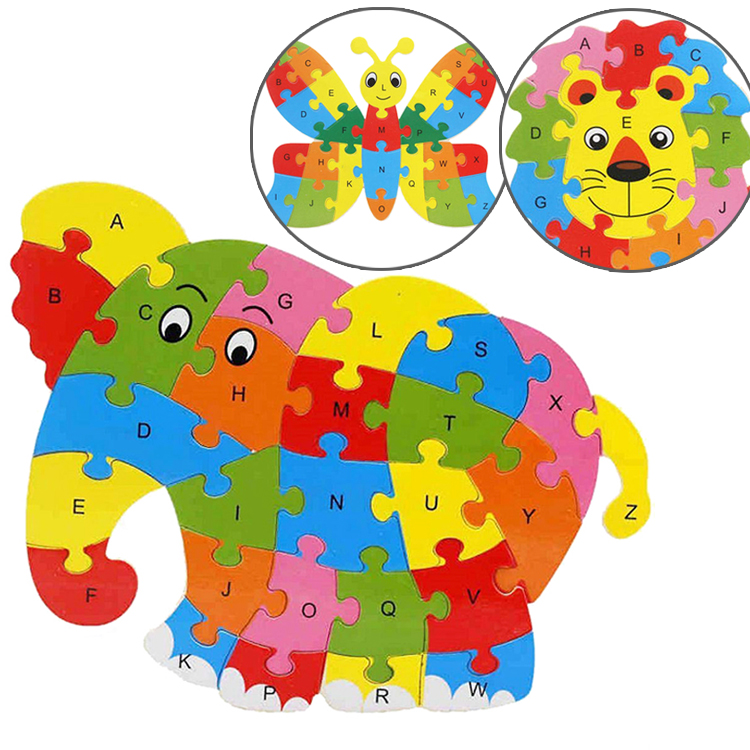 26ピース アルファベット動物パズル ライオン ゾウ ちょうちょ お子様の好奇心 結婚祝い ジグソーパズル LST-PUZZE26 おトク 可愛いパズル