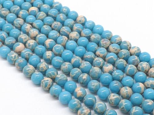 天然石卸 パワーストーン卸 天然石 ビーズ パーツ 仕入れ 連売り 通販 ブレスレット  天然石 インペリアルジャスパー(ブルー) ラウンド6mm  1連売り