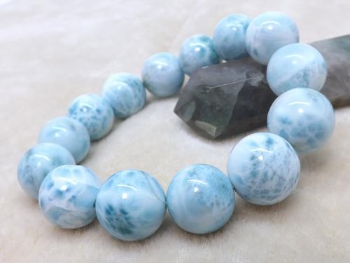 高品質天然石 ラリマーブレスレットA+ 16mm玉ブレス r-la-0069