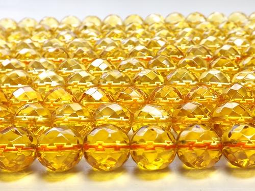 天然石卸 パワーストーン卸 天然石 ビーズ パーツ 仕入れ 連売り 通販 ブレスレット  合成 シトリン64面カット ラウンド10mm  1連売り