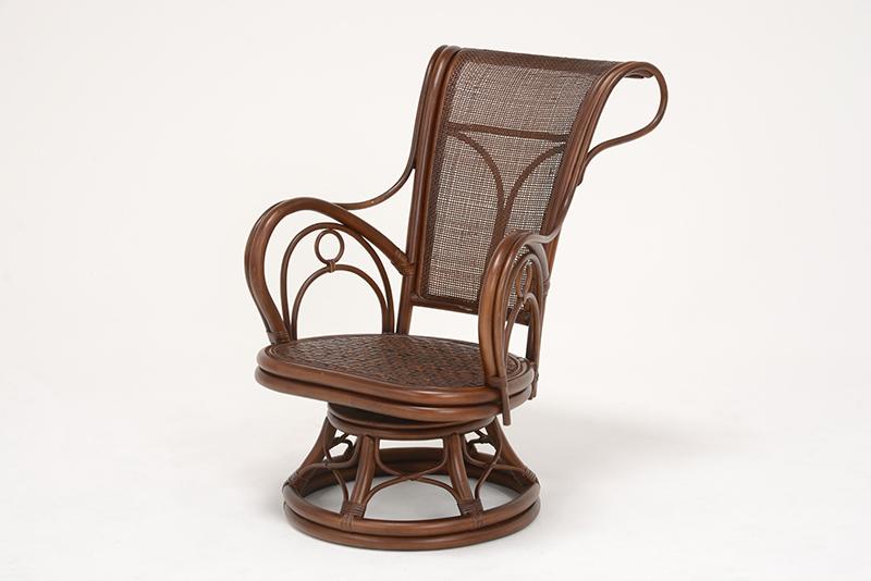 【送料無料】回転座椅子 2台セット 籐ならではの優雅な曲線美