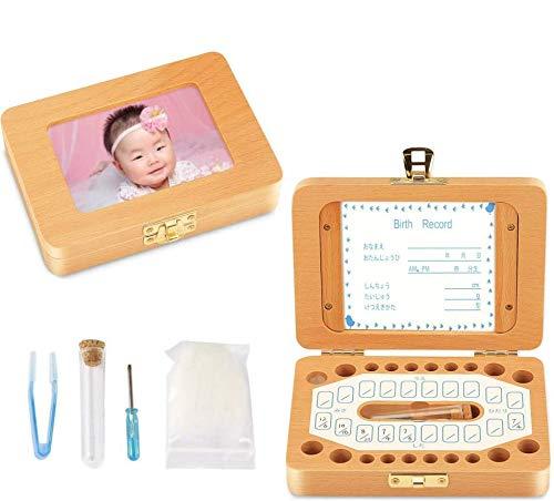 乳歯ケース 乳歯入れ 赤ちゃん用 乳歯ボックス 記念 木製 写真入れ可能 名前と抜けた日シール付き 乾燥用綿付き うぶ毛を入れるミニボトル付き 男の子 女の子
