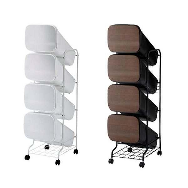 smooth dustbox series スムースダストボックスシリーズ スタンドダストボックス4P MT&WD 【直送品・代引き不可・返品不可・沖縄県と離島は配送不可】 分別 4段