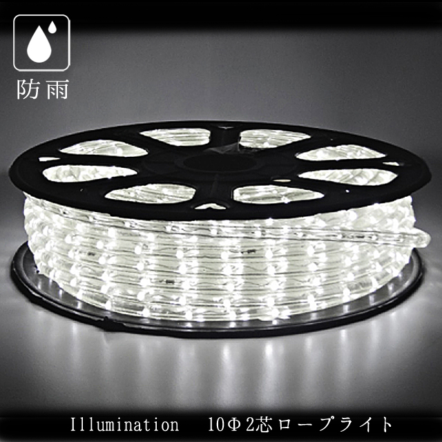 業務用 イルミネーション チューブ ロープ LED ロープライトスリム 40m 2芯 ホワイト