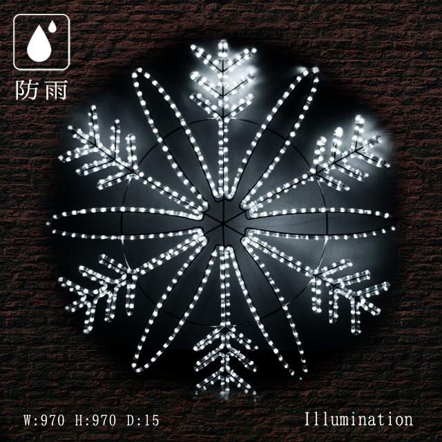 業務用 イルミネーション モチーフ 2D クリスマス 雪 屋外 防雨 LEDスノーフラワー ホワイト