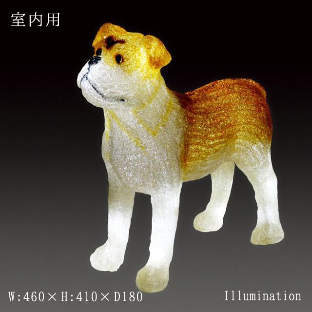イルミネーション モチーフ 3D 動物 犬 屋内 LED クリスタルグロー ブルドック