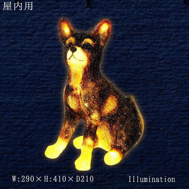 イルミネーション モチーフ 3D 動物 犬 屋内 LED クリスタルグロー シバ