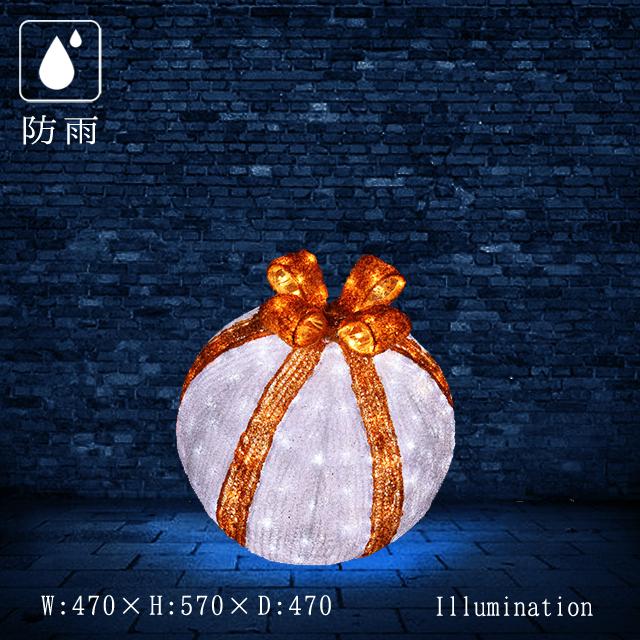 業務用 イルミネーション モチーフ 3D 屋外 防雨 LED クリスタルグローデコボール リボン 小