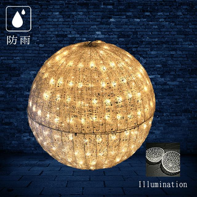 業務用 イルミネーション モチーフ 3D 屋外 防雨 LEDクリスタルグローボール (中) ウォームホワイト