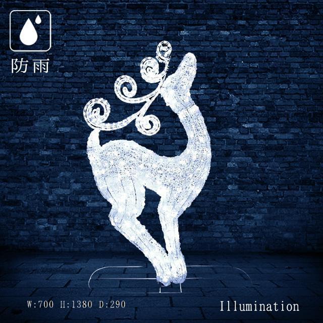 【業務用 イルミネーション モチーフ 3D】クリスマス 防雨 LEDクリスタルグローファンシートナカイ