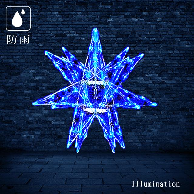 業務用 イルミネーション モチーフ 3D 屋外 防雨 LED セパレーツギャラクシー ギャラクシー6枚羽 (中) ブルー