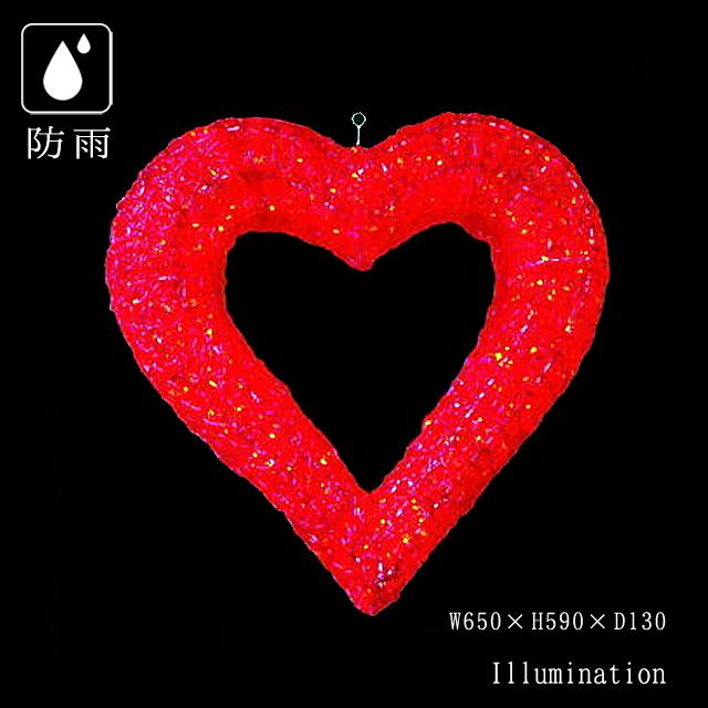 業務用 イルミネーション モチーフ 3D クリスマス バレンタイン 屋外 防雨 LEDクリスタルグローハート レッド