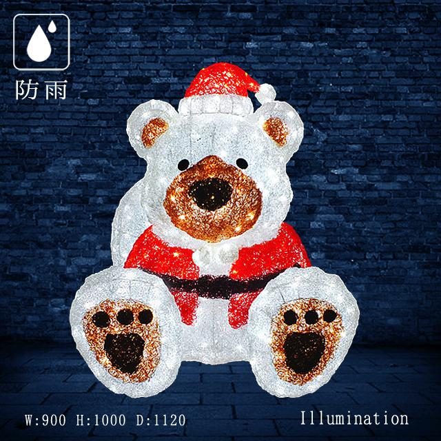 【業務用 イルミネーション モチーフ 3D 】屋外 防雨 クリスマス サンタ LED クリスタル サンタベア