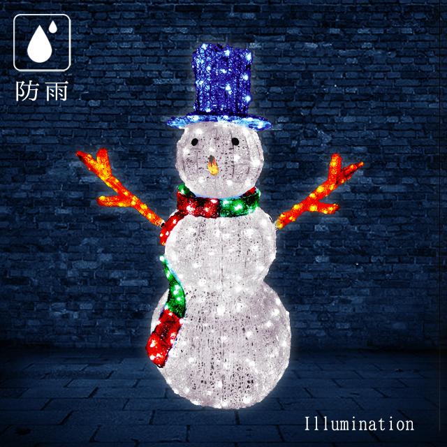 業務用 イルミネーション モチーフ 3D 防雨 クリスマス 雪だるま イルミネーション LED クリスタルグロー スノーマン (大)