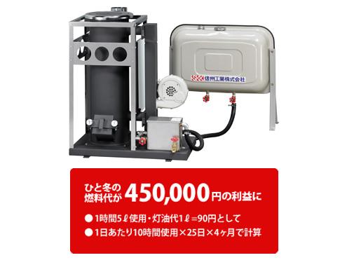 信州工業 廃油ストーブ SG-50CX 90Lタンク付属 【代引き不可商品】