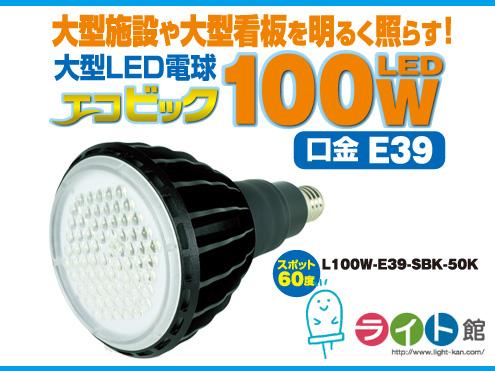 日動工業 大型LED電球 エコビック L100W-E39-SBK-50K