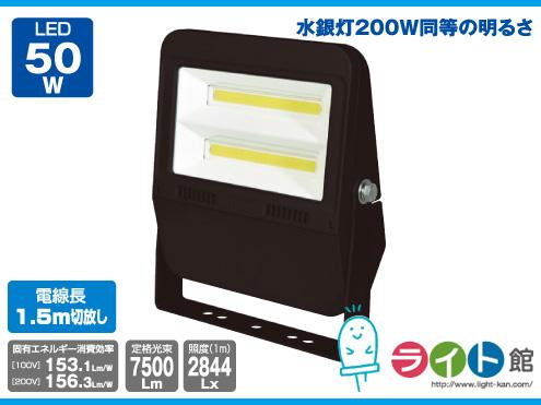 日動工業 LEDフラットライト 常設用 LJS-F50D-BK-50K