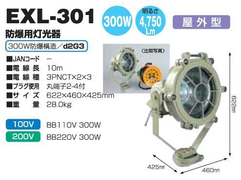 防爆用投光器 日動工業 EXL-301 屋外用 300W