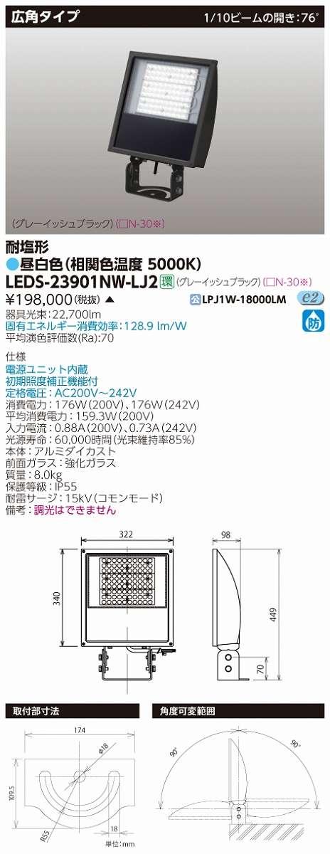 LED投光器 東芝 LEDS-23901NW-LJ2