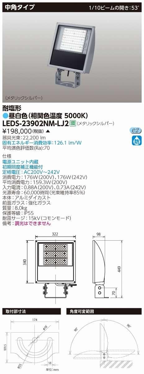 LED投光器 東芝 LEDS-23902NM-LJ2