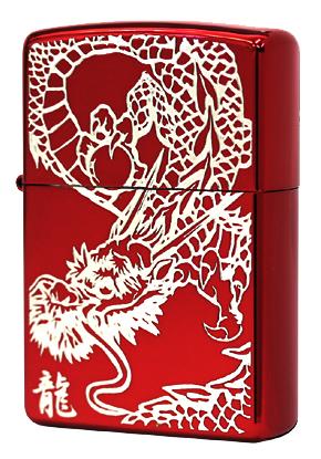 Zippo ジッポー RED DRAGON (S)IonRed 銀サシ zippo ジッポ ライター オプション購入で名入れ可