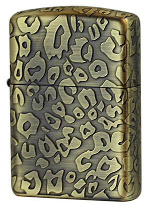 Zippo ジッポー ヒョウ柄アンティーク LEOPARD A Brass zippo ジッポライター オプション購入で名入れ可