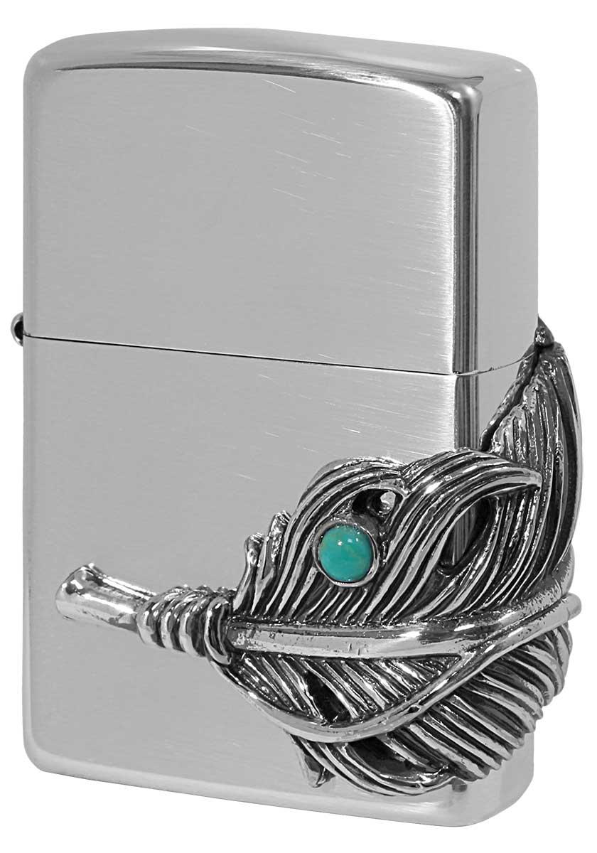 Zippo ジッポー メタル系 Big Feather Metal ビックフェザーメタル SV イブシ zippo ジッポ ライター オプション購入で名入れ可