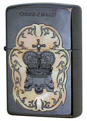 Zippo ジッポー シェル天然貝象嵌 Crown of Skulls COS-C zippo ジッポライター オプション購入で名入れ可