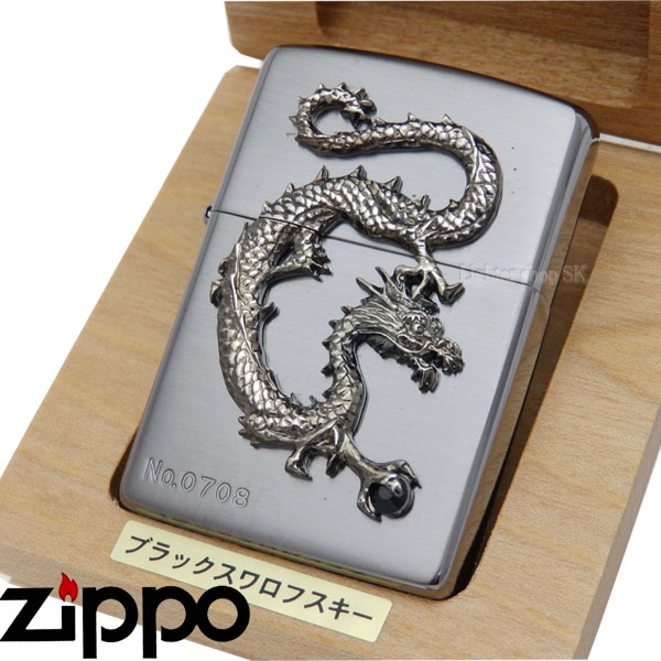 ZIPPO 龍石入りメタルブラックブラックスワロフスキー送料無料【smtb-u】