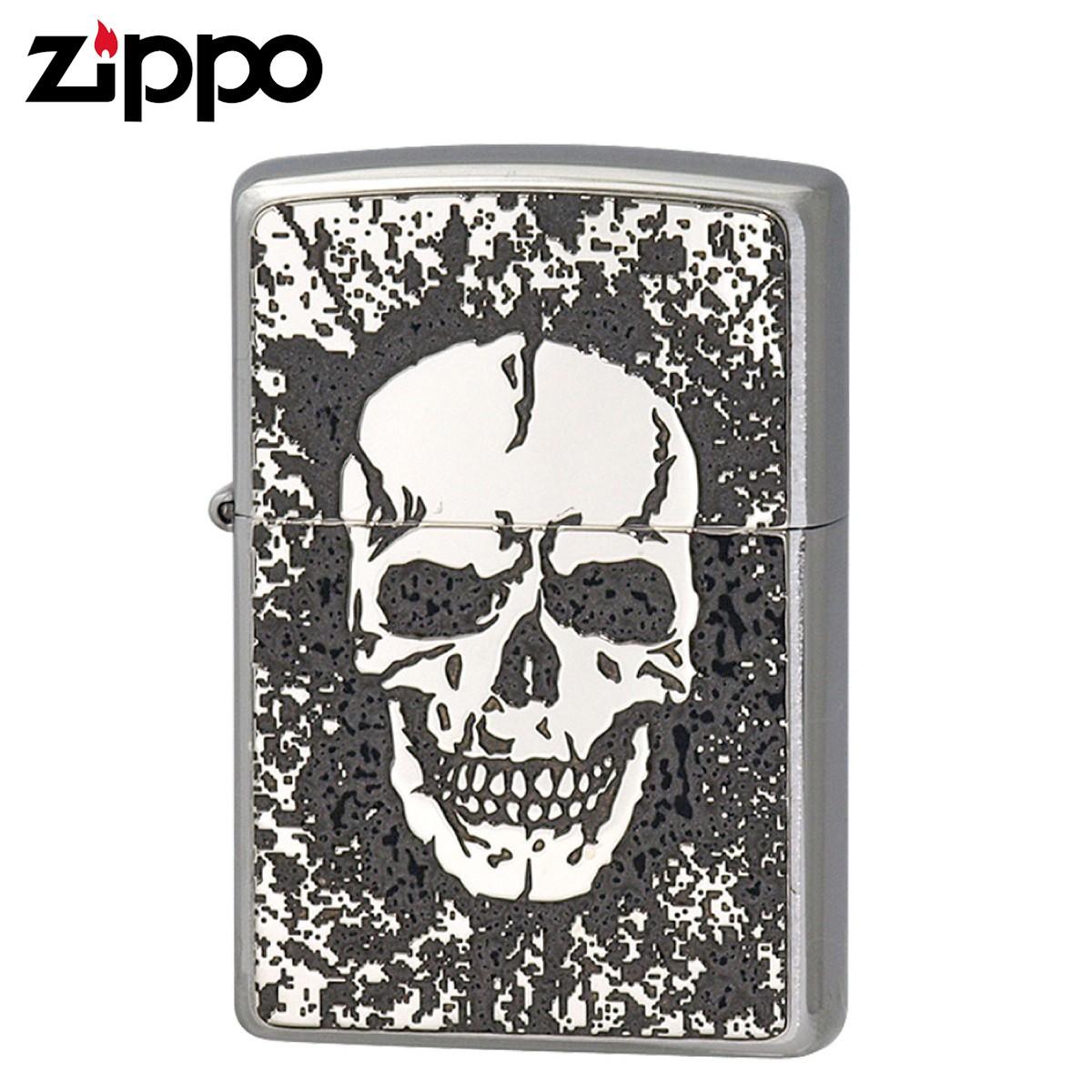 Zippo ジッポー Zippoライター ジッポライター オイルライター 200 フラットボトム メタルペイントプレート パターン 2MPP-Skull(GY) ギフト プレゼント 贈り物 返品不可 喫煙具