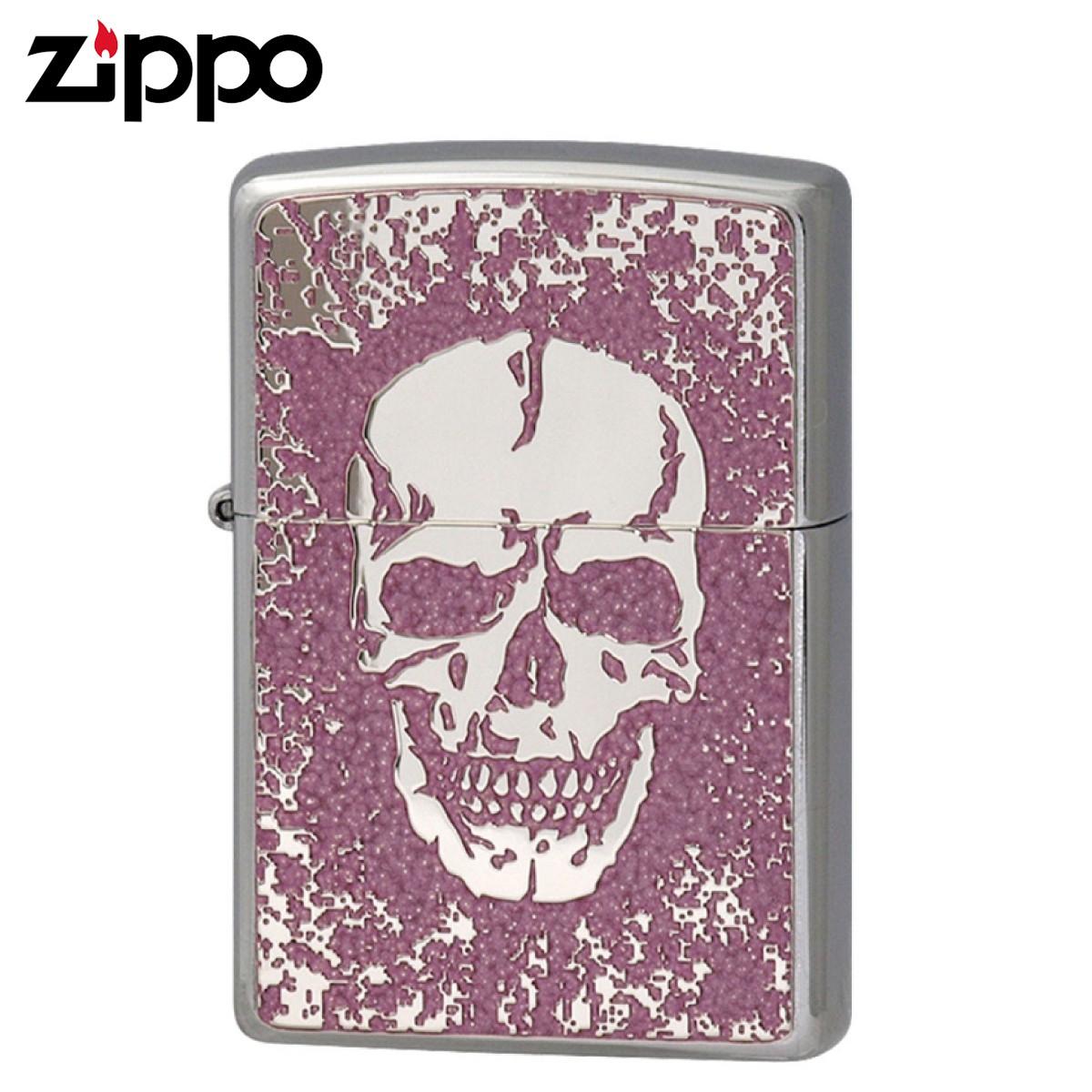 Zippo ジッポー Zippoライター ジッポライター オイルライター 200 フラットボトム メタルペイントプレート スカル 2MPP-Skull(PK) ギフト プレゼント 贈り物 返品不可 喫煙具