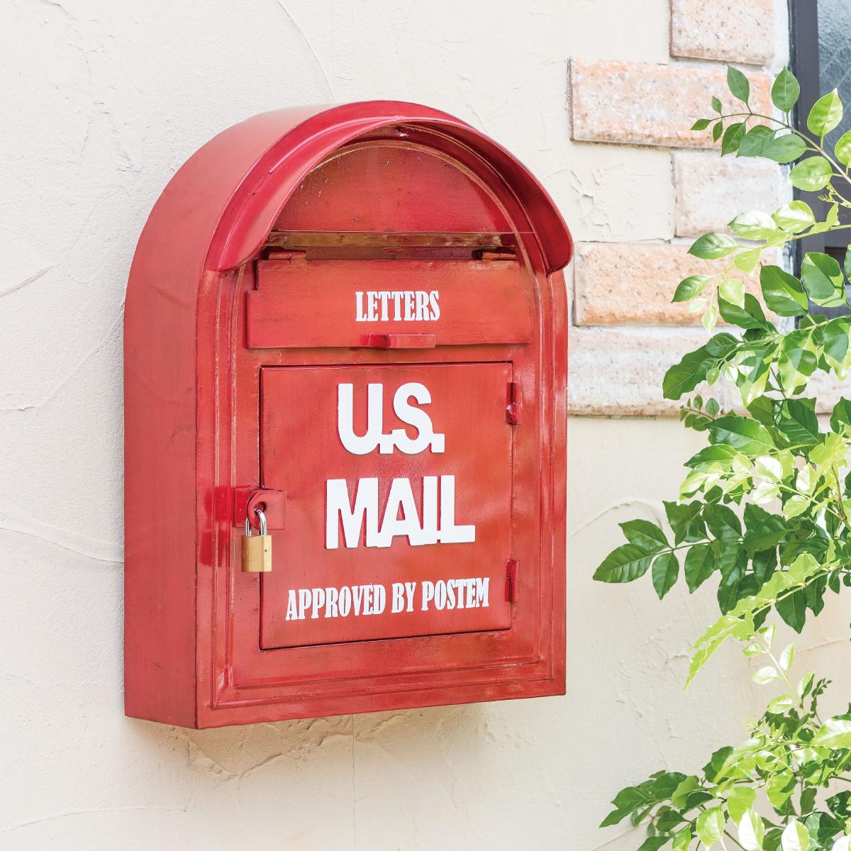 ポスト 壁掛け 鍵付き おしゃれ ウォールポスト アメリカ USA メールボックス アメリカンヴィンテージ ビンテージ 赤 レッド U.S. MAIL 返品不可 キャンセル不可