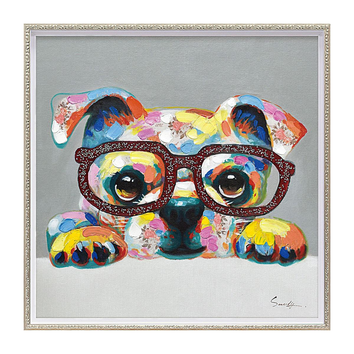【最大10%OFFクーポン】アートパネル 壁掛け インテリア 油絵 額入り オイル ペイント アートパネル グリッター グラス M 犬 アニマル