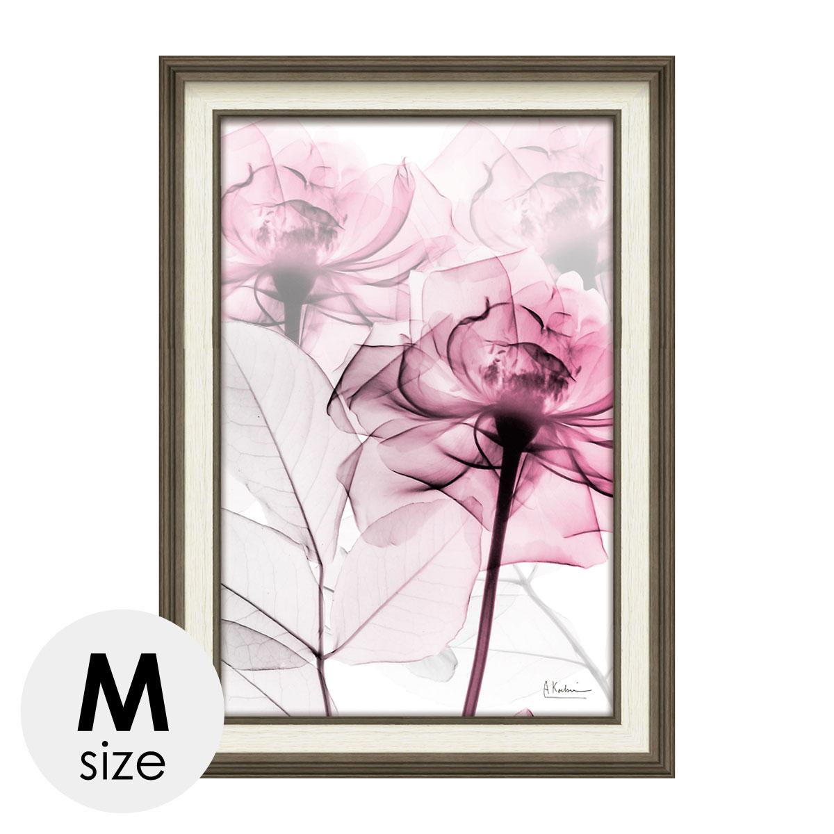 アートパネル 花 薔薇 ばら バラ アートフレーム モダン 額入り X RAY キャンバスアート ピンクローズ Mサイズ