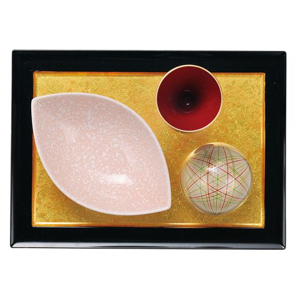 小鉢 有田焼 8.5寸長角プレート 二色金箔 小物セット J2-108-16-S