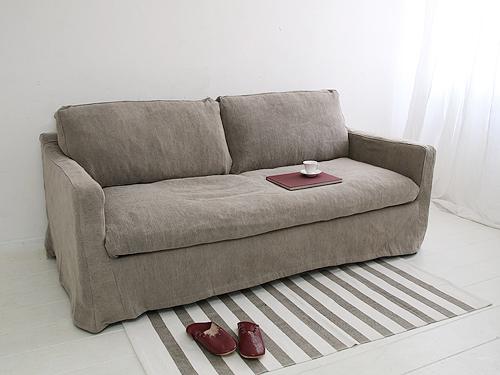 【店内全品ポイント10倍】Cotton Linen Sofa コットン・リネン カバーリングソファ グレー色(別注)0142-sf-sh12-07-f519a-3