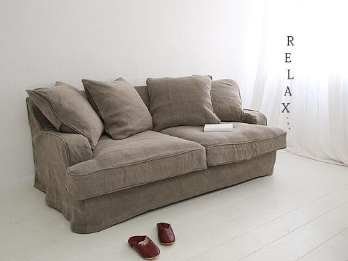 Cotton Linen Sofa コットンリネン カバーリングソファ クッション4個付 グレー 受注生産品 0142-sf-sh12-01-f519a-3