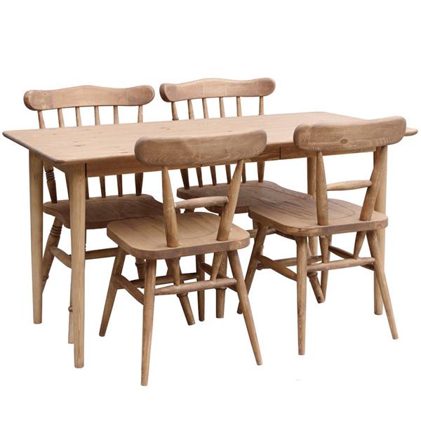 【本州玄関前お渡し送料無料】ダイニング5点セット POTERYパイン家具 135テーブル CO01-135 +チェア4脚 CO02x4