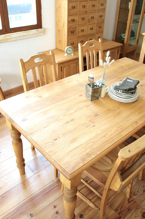 【本州玄関前お渡し送料無料】 LOHASパイン家具 ダイニングテーブル5点セット パイン色 1350mm 0152-ds-a135-003