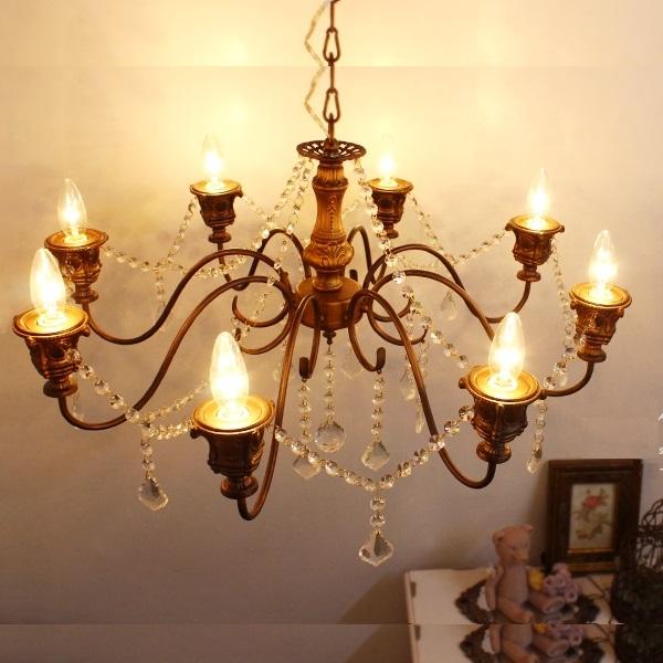 照明 おしゃれ シャンデリア アンティーク LED 対応 かわいい 天井照明 超人気 照明器具 ギフ_包装 0202-li-ov-041-8-l Chandelier ライト ベーシックシャンデリア 8灯 Basic