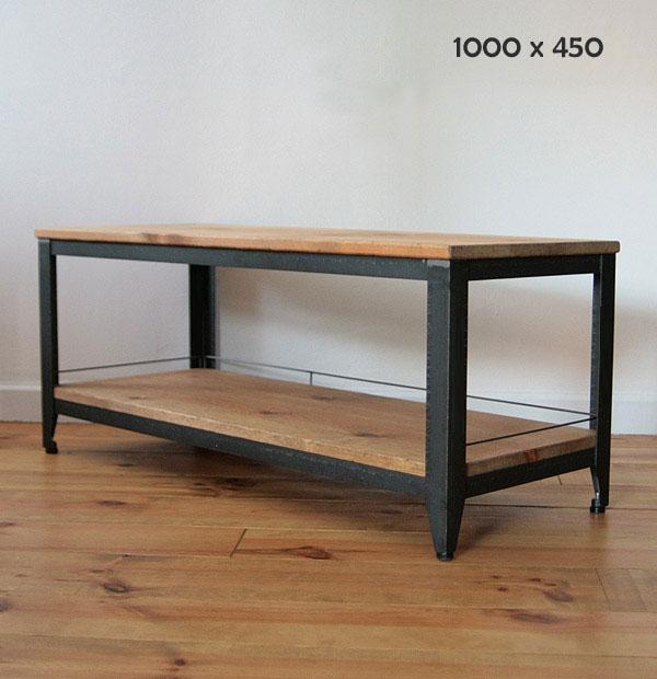 国産オリジナルオーダー家具 Rustic iron ラスティック・アイアン テレビホード パイン材棚板ボード アジャスター付 W1000×D450×H400 0220-tv-ri-501-100a