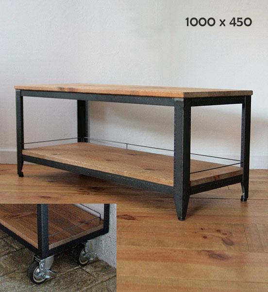 国産オリジナルオーダー家具 Rustic iron ラスティック・アイアン テレビホード パイン材棚板ボード キャスター付 W1000×D450×H400 0220-tv-ri-501-100c