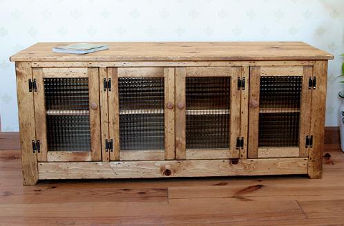 国産オリジナルオーダー家具 Rustic TV Board typeB 4枚板ガラス・1200 0220-tv-RT-502-120CL
