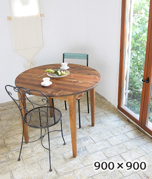 国産オリジナルオーダー家具 Rustic 丸型 円形 ラスティックパイン ラウンドカフェテーブル Ф900 単品 0220-dt-RT-209-90