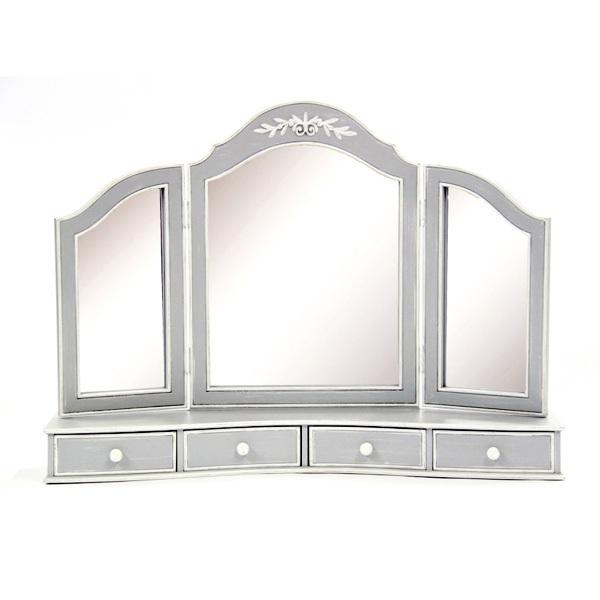 【ポイント10倍】 3面鏡 フランス家具 グレー  0222-mr-0382027