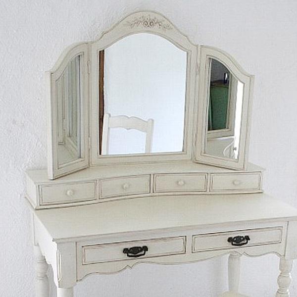 フランス家具 ホワイト家具 3面鏡  0222-mr-382002