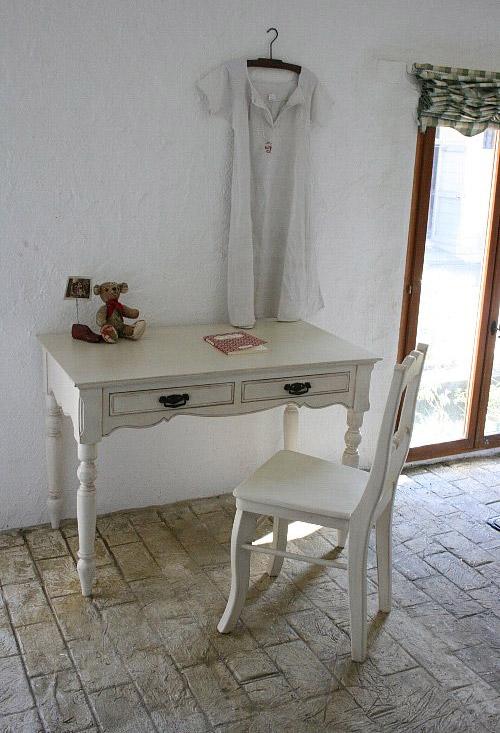 フランス アンティーク家具 デスク 学習机 ホワイト  0222-kd-121010