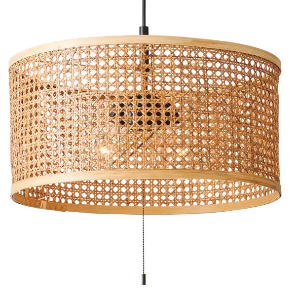 2灯式ラタン&バンブーシェード・ペンダントライト Serge セルジュ  E26/60W相当 ボール球形LED電球 電球色 ×2付  Interform 252l-lt-3790