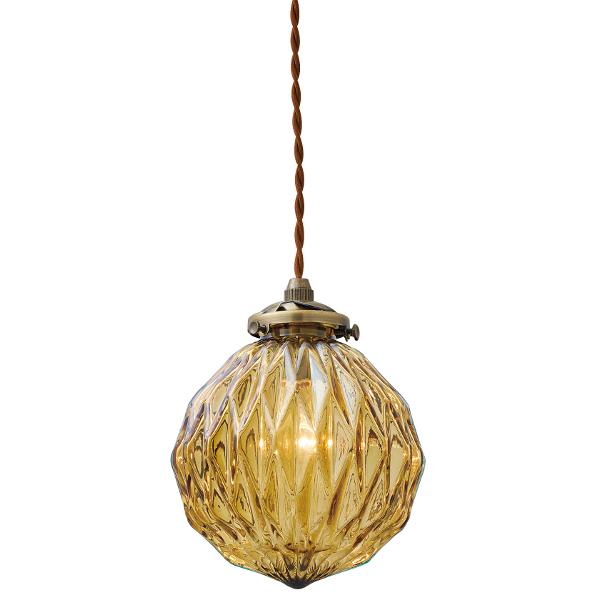 【店内全品ポイント10倍】【送料無料】1灯式ペンダントライト Beryl[べリル] E17/40W相当 小形LED電球(電球色)付 アンバー色 --- Interform252l-lt-3803am